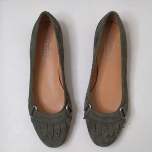 Talbots Green Suede Fringe Loafers